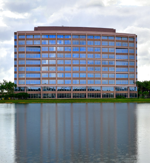 Exterior view of W1000 building with lagoon