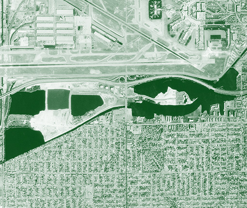 Aerial image of Waterford Business District in 1984