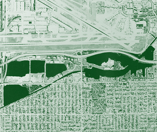 Aerial image of Waterford Business District in 1994